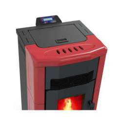 Estufa cerámica Fuji Basic de pellet 10 kW. Lasian de aire. Colores disponibles: Burdeos y Beige. Sin limpieza automática.