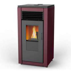 Smart Flow estufa pellet de aire canalizado 10 kW. Lasian. Colores: Rojo corinto, blanco opaco, negro y efecto óxido.