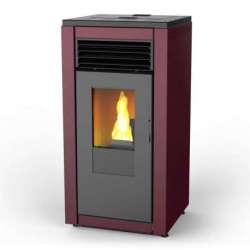 Smart Flow estufa pellet de aire canalizado 12 kW. Lasian. Colores: Rojo corinto, blanco opaco, negro y efecto óxido.