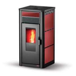 Musa basic, estufa pellet 12 kW. Lasian de aire. Colores disponibles: burdeos, beige, negro y gris. Sin autolimpieza.