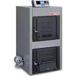 Solimax plus caldera para leña y/o carbón con control electrónico de Lasian. 30 kW, 40 kW, 50 kW y 65 kW.